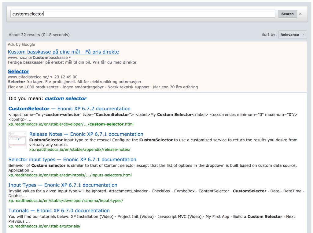 Google Custom Search Engine - Enonic Market
