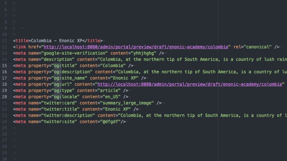An example of some of the possible meta fields this app can generate, and let any web editor customise.