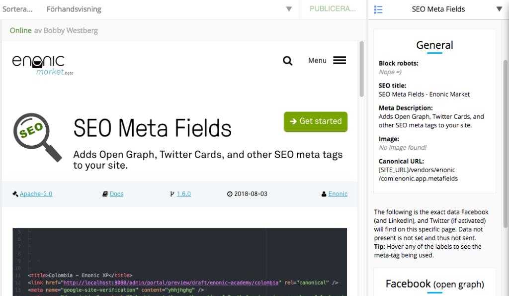 SEO Meta Fields - Enonic Market